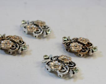 Double Strand Antique Silver Beige Flower and Rhinestone, Plated Pewter Link, Connector, Spacer Bar Findings, 4 pieces