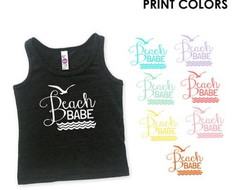 Beach Babe Triblend Heather Black Kids Toddler Tank Top - Family Photos, Beach Day, Waves, Ocean, Surf, Summer, Vacation
