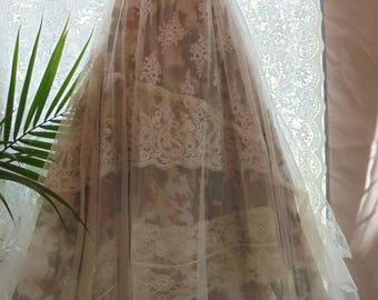 Reserved for Tara balance for custom Lace Wedding Dress boho nude  floral cream  vintage  by vintage opulence on Etsy