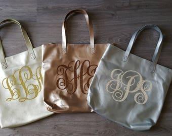 Custom personalized metallic tote bags, Glitter monogram bags, Silver, Gold, Bronze, Metallic bags, Christmas Gift, Large tote bag