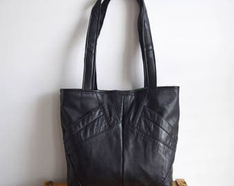 TOTE BAG // black eco friendly leather
