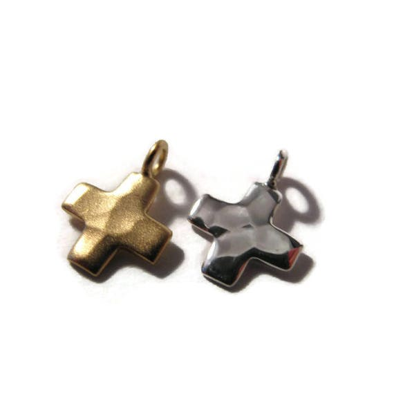 Cross Charm, .925 Sterling Silver or Brushed Gold over Sterling Hammered Cross Charm, Cross Pendant for Making Jewelry (CH 2534)