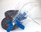 Paisley Brocade and Blue Velvet Mini Top Hat - Gothic Lolita, Mad Hatter, Steampunk Wedding, Victorian Wedding, Derby Facinator