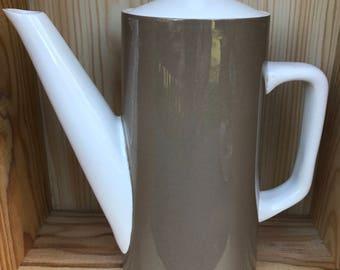 Vintage Ironstone Chocolate Pot in Mushroom / White 1960's Coffee Pot Tea Pot Stylish Tall