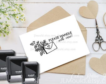 Self Inking Custom Rubber Stamp JLMould, Business Please Handle with Care Stamp, Snail Mail,  Stamp Logo,  Logo Stamp, Mailing Packages 1070