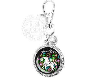 Personalized Unicorn Purse Charm, Dream Big, Key Ring, Key Fob, Handbag Accessory, Bridesmaid Gift, Wedding, Whimsical, Handbag Charm, Bling