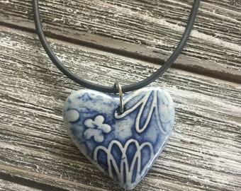 Cobalt Blue Floral Porcelain Heart Pendant 2