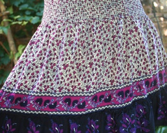 Pink and purple India print mini // hippie skirt // festival skirt // small // mini skirt // hippie mini skirt // India print skirt