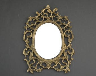 Baroque Mirror with Brass Frame {Decorative Picture Frame Home Decor Accent Nursery Rococo Ornate Frame Scroll Motif Wedding Sign Buffet}
