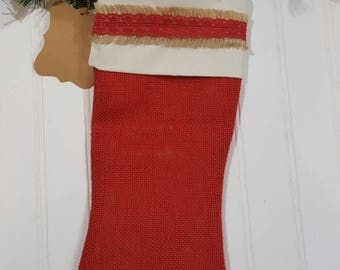 Christmas Burlap Stocking Red With Cream Cuff And A Red Trim Christmas Decoration