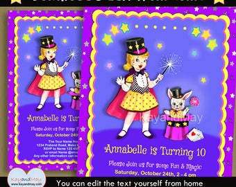 Magic invitation - Magic birthday Magic party Magic Show - cute blonde girl magician & rabbit - INSTANT DOWNLOAD #P-5 - with editable text