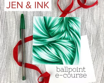 E-Course - Online Drawing Course - Ballpoint Pen E-Course - Drawing Class - Ballpoint Drawing How-To - Jen & Ink - Abstract Art Worship