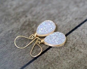 Druzy Teardrop Earrings , White Drop Dangle Earrings in Gold , Rose Gold , Sterling Silver , Statement Druzy - Cottontail