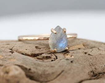 Labradorite ring, gold filled prong set ring, rose cut teardrop flashy labradorite ring, Rachel Wilder Handmade Jewelry