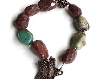 Turquoise Moukaite Jasper Boho Beaded Bracelet, Copper Star Bracelet, Boutique Wearable Art, For Her Under 140, One of a Kind