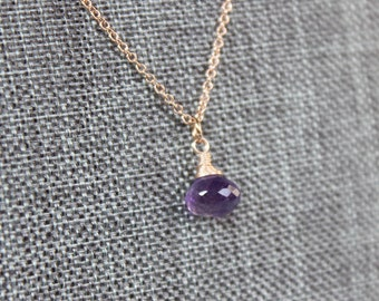 Amethyst Onion Rose Gold Necklace