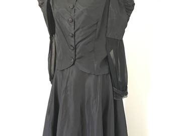 Edwardian Walking Dress Antique Black High Collar Blouse and Skirt Sheer Sleeves  Cosplay Period Costuming