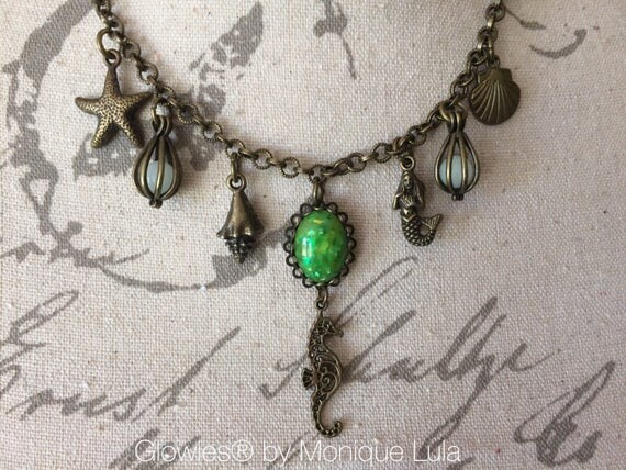 Mermaid Statement Necklace Seashells Glow Necklace Crystal Teardrop Beads Antique Brass Vintage Style Glowing Green Opal Beaded Ocean Glow