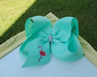 Aqua Flamingo Hair Bow - Embroidered Bow with Flamingo - Preppy Bow - Southern Hair Bow - Jumbo Hair Bow - Flamingo Bow - Flamingo Headband