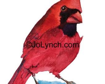 Mr. Cardinal Red Painting Print - Cardinal Print of Watercolor Painting - 8 x 10 inch print, Cardinal Bird Art