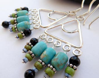 Long Sterling Silver Triangle RARE Gemstones Dangle Earrings Southwestern Boho Colorful Dangles Turquoise Gaspeite Onyx Trade Bead Earrings
