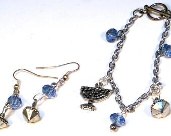 Hanukkah Bracelet - Chanukah Charm Bracelet Set - Menorah Dreidel Chain Bracelet - Gifts under 50