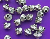 17 Metal Bicone Beads, Antique Silver Tone, Bali Style, About 5.75mm x 6.75mm with a 1.6mm hole - TS603R