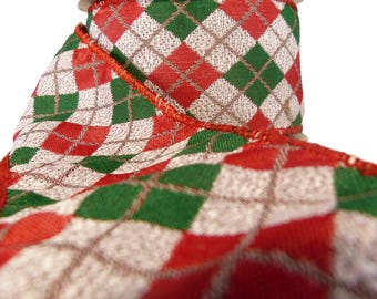 "Red Green & Off White Argyle Patterned Wired Ribbon  2.5"" Wide"