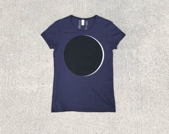 Womens Moon Shirt, Solar Eclipse Shirt, Astronomy Gift for Women, Womens Graphic Tee, Outer Space Science Shirt, Cotton Tshirt, Gift for Mom