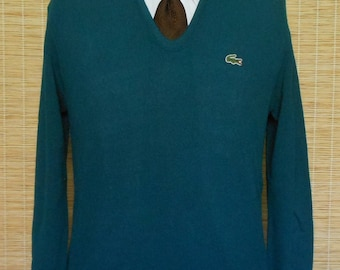 Vintage 80s 90s Mens Lacoste Pullover Sweater, 1980s 1990s Deep Turquoise Vee Neck Jumper w Alligator Logo, by Izod, Size Medium to Large