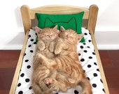 Green Kitten Toy Cat Bed Pillow Modern pet lover animal print Miniature IKEA DUKTIG doll furniture Gift organic catnip lady printed pillows