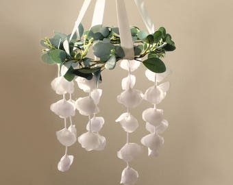 Eucalyptus flower mobile, Floral baby mobile, Baby girl nursery, Floral chandelier, Baby room decor, Nursery flower mobile, Green leaf hoop