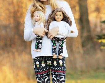 Matching Girl Doll Clothes fits American Girl Doll OR Wellie Wisher - Navy Christmas Leggings, 6m, 12m, 18m, 2T, 3T, 4T, 5, 6, 7, 8, 10, 12