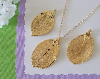 Gold Rose Leaf Necklace, Real Leaf Necklace, Rose Leaf, Gold Leaf Necklace, Long Leaf, Leaf Pendant LC215