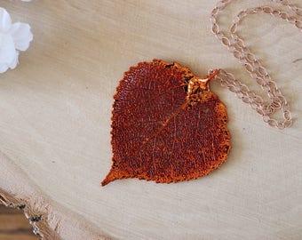 Copper Aspen Leaf Necklace, Real Leaf Necklace, Aspen Leaf, Rose Gold, Leaf Pendant LC168
