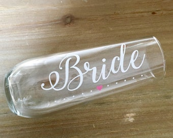 Personalized stemless champagne flute, vase, bride with heart, wedding, bridesmaids, favors, bachelorette party, bridal shower gift idea