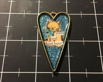100% Donation Item: Purrs and Head Butts Heart Shaped Cat Pendant, All proceeds go to the current focus charity