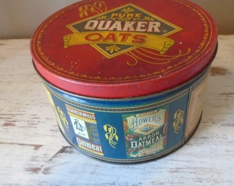 Vintage round Quaker Oats Tin Limited Edition, 1993, blue, red and yellow tin /  vintage storage / vintage oats