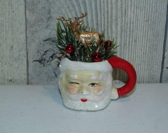 Miniature Santa Mug, Japan Santa Mug Vintage Kitsch Style Bottle Brush Golden Reindeer, Christmas Holiday Decoration OOAK, Repurposed Santa