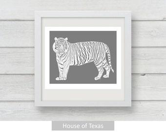 Gray Tiger Download Print, a unique reverse color look, would make a fun addition to your home decor