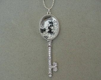 Whimsical Rhinestone Silver Skeleton Key Necklace with FLOATING LOCKET necklace Floating locket with crystals Rhinestone skeleton key