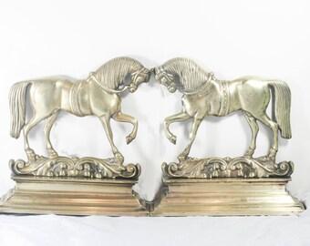 Antique / Vintage Victorian Brass Mantle Horses - Use as Book ends, Door stop, sculpture