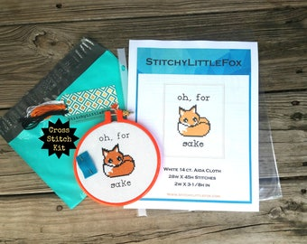 Beginner Cross Stitch Kit, Oh For Fox Sake, Easy Crossstitch Kit, DIY Kit, Needlepoint, Cute Cross Stitch, Modern Cross Stitch, XStitch Kits