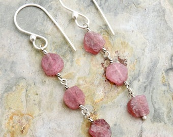 Pink Tourmaline Earrings - Pink Gemstone Earrings - Raw Stone Earrings - Raw Tourmaline - Sterling Silver - Pink Dangle Earrings  #4839