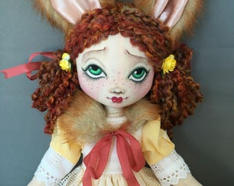Fox Red Headed Doll Mori Girl Wood Nymph, Art Doll, Fabric Cloth Rag, Faux Fur collar vintage lace and fabric red hair freckles forest fairy
