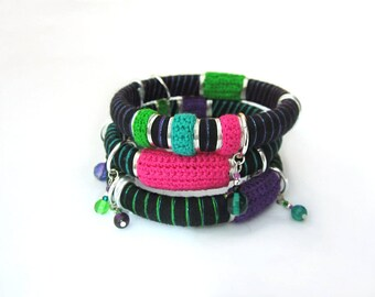 Set of three crochet fiber stacking bangles, urban pop rock bracelets, colorful bracelets, gift for rock girl, rock lovers gift, vegan gift