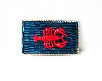 """Lobster Belt Buckle- Womans Belt Buckle- Red Blue Silver Belt Buckle- Ocean Theme Belt Buckle- Resort Wear Cruise- Womens Gift Idea 3 .25"""" w"""