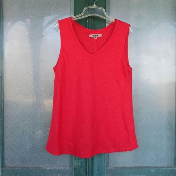 FLAX Designs Sleeveless V-Neck Bias Tank -M- Bright Red Light Weight Linen