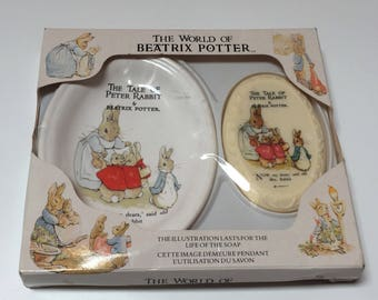 Vintage Beatrix Potter Peter Rabbit Soap Dish and Soap Set Still in Package, 1988 World of Beatrix Potter Tale of Peter Rabbit Soap Dish