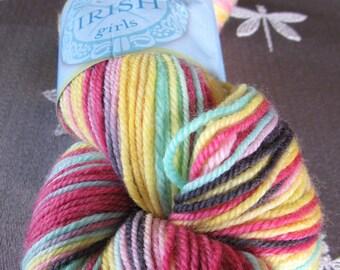 """One Skein Hand Dyed Artisan Adorn Sock Yarn """"Three Irish Girls"""" Colorway: AINSLEY Merino Nylon Pinks Yellows Aqua"""